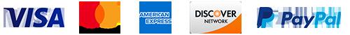 Visa, Master Card, American Express, Discover and PayPal